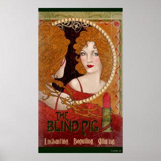 盲目のブタのヴィンテージのアートワーク ポスター