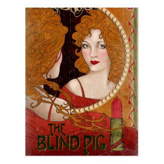 盲目のブタのヴィンテージのアートワーク ポストカード