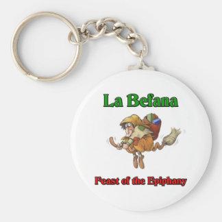 直感のLaのBefana (クリスマスの魔法使い)の饗宴 ベーシック丸型缶キーホルダー