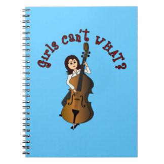 直立したひものコントラバスプレーヤーの女の子 ノートブック