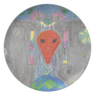 相互作用UFOの地球およびエイリアンのメラミンプレート プレート