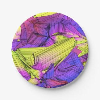 相撲の紫色および黄色の星 ペーパープレート