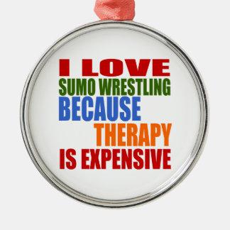 相撲レスリングは私のセラピーです メタルオーナメント