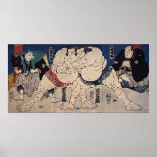 相撲、国芳の相撲レスリング、Kuniyoshi、Ukiyo-e ポスター