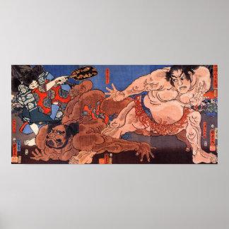 相撲、歌川国芳の相撲レスリング、Kuniyoshi プリント