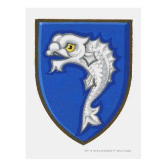 盾のheraldic魚の記号のイラストレーション ポストカード