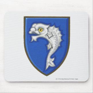 盾のheraldic魚の記号のイラストレーション マウスパッド