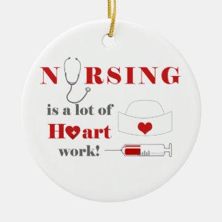 看護は多くのheartworkです セラミックオーナメント