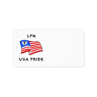 看護LPN米国のプライド 宛名ラベル