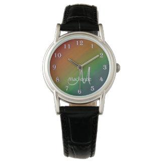 真ちゅう製のきらきら光るな|のモノグラムのグラデーションな虹のプライドの旗 腕時計