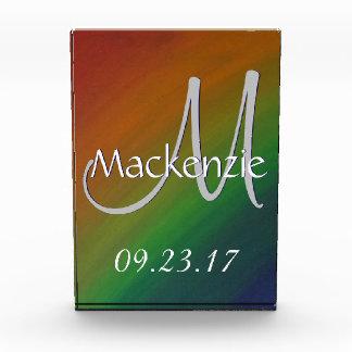 真ちゅう製のカラフルな虹のプライドの抽象芸術の結婚 表彰盾