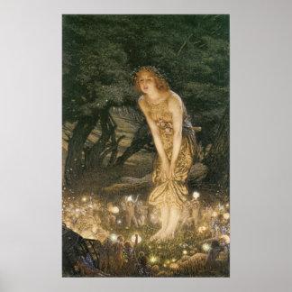 真夏のイブのビクトリア時代の人の妖精 ポスター
