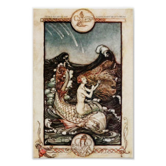 真夏の夜の夢の人魚アーサーRackham ポスター