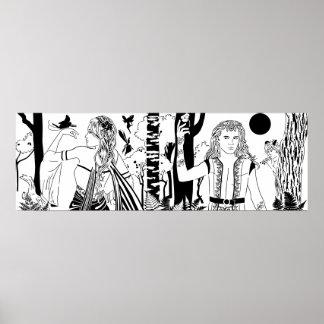 """真夏の夜の夢B&W 36"""" x12""""ポスター ポスター"""