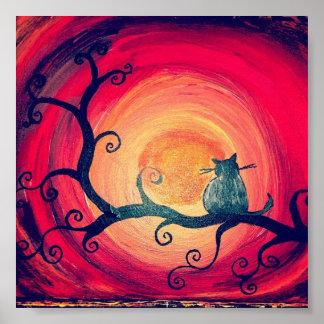 真夜中のお洒落な猫ポスター ポスター