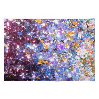 真夜中のセレナーデのグラデーションな青い紫色の星の輝き ランチョンマット