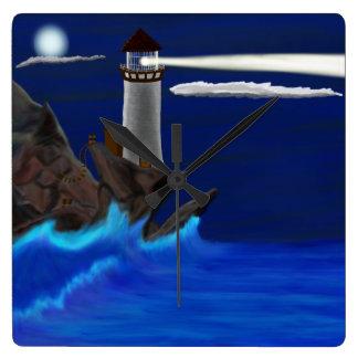 真夜中の灯台景色 スクエア壁時計
