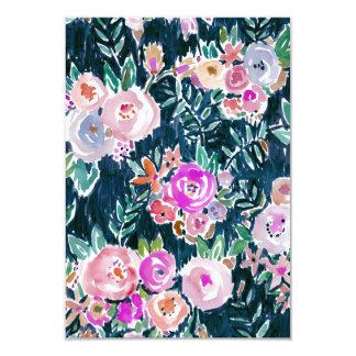 真夜中の豊富さの暗闇のばら色の花のサンキューカード 8.9 X 12.7 インビテーションカード