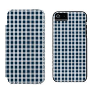 真夜中の青いギンガムの点検パターン INCIPIO WATSON™ iPhone 5 ウォレット ケース