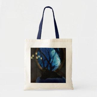 真夜中の青いファンタジー猫の芸術 トートバッグ