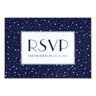 真夜中の青い冬の雪RSVP カード
