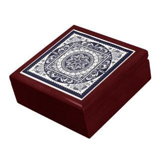真夜中の青い曼荼羅のセラミックタイル箱 ギフトボックス
