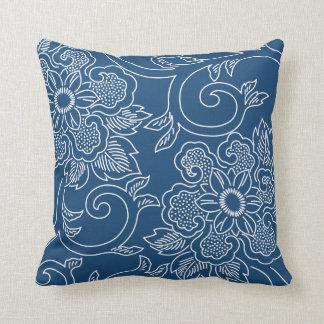 真夜中の青い花の枕 クッション