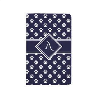 真夜中の青い足のプリントの格子モノグラムのノート ポケットジャーナル