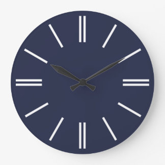 真夜中の青および陰刻柱時計 ラージ壁時計