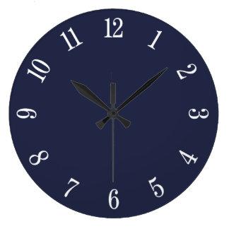 真夜中の青く、大きい白は柱時計に番号を付けます ラージ壁時計