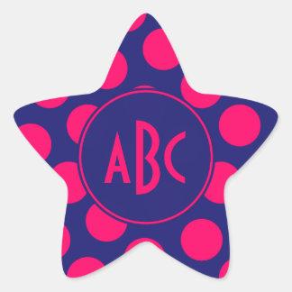 真夜中の青く、明るいピンクの点のモノグラム 星シール