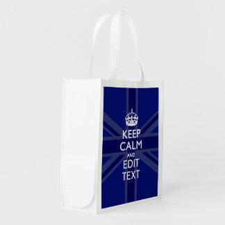 真夜中の青は平静およびあなたの文字の英国国旗保ちます エコバッグ