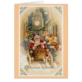 真夜中ドライブヴィンテージのクリスマスカード カード