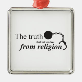 真実は宗教から自由に置きます シルバーカラー正方形オーナメント