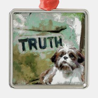 真実は柔軟性を必要とします シルバーカラー正方形オーナメント