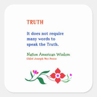 真実:  知恵のアメリカインディアンの単語 スクエアシール
