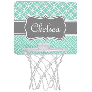 真新しいギリシャ人の鍵および円パターン灰色の名前 ミニバスケットボールゴール