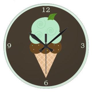 真新しいチョコレート・アイス・クリームの円錐形 ラージ壁時計