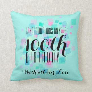 真新しいパステルカラーの100th誕生日のカスタムの枕 クッション