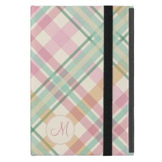 真新しいピンクのラズベリーのオレンジパステルの格子縞のモノグラム iPad MINI ケース