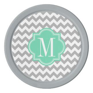 真新しいモノグラムが付いている灰色のシェブロン ポーカーチップ