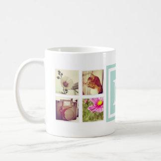 真新しいモノグラムのInstagramの写真のコラージュのマグ コーヒーマグカップ
