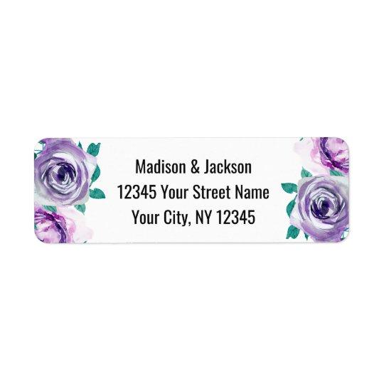 真新しい及び紫色の花柄のばら色の結婚式の差出人住所 ラベル
