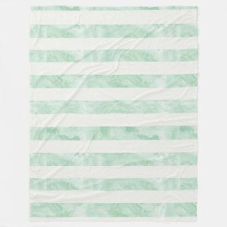 真新しい水彩画は縞で飾ります フリースブランケット