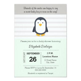 真新しい灰色のペンギンのベビーシャワーの招待状 カード