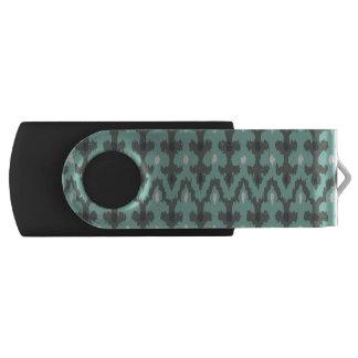 真新しい灰色の幾何学的なイカットの種族の装飾的なパターン USBフラッシュドライブ