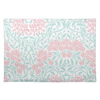 真新しい珊瑚の花のダマスク織パターン ランチョンマット