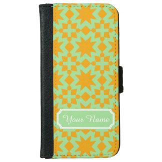 真新しい緑およびオレンジスタイリッシュでシックなパターン iPhone 6/6S ウォレットケース