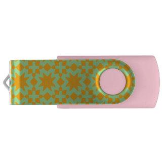 真新しい緑およびオレンジスタイリッシュでシックなパターン USBフラッシュドライブ