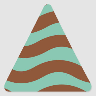 真新しい緑およびブラウンの波 三角形シール